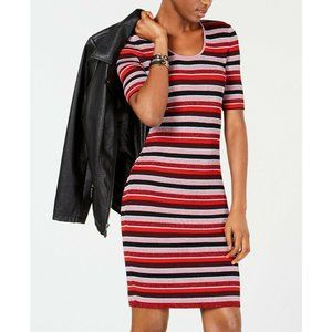 Bar III Metallic Striped Sweater Dress Long Midi